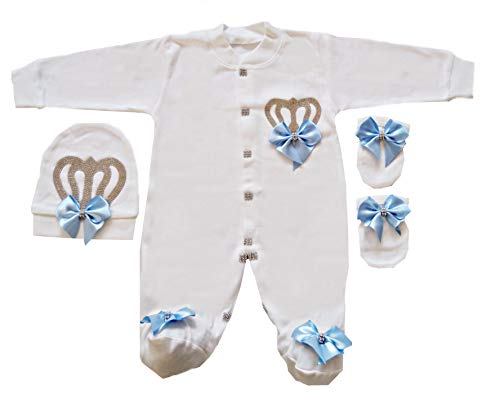 WR Home Decore Baby Boy Clothes Set Newborn royal Outfit Fancy Crown 0-6 Months