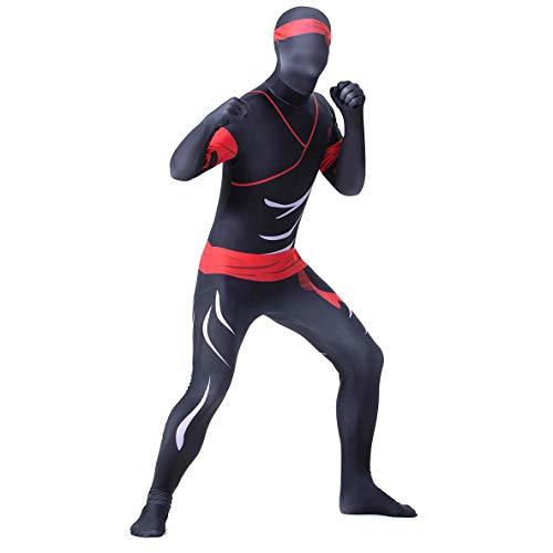 Schwarzer Ninja Zentai Spandex Kostüm Body für Erwachsene Anzieh Comics Halloween/Geburtstagsfeier Kreativer Cosplay Thema Party Overall,M