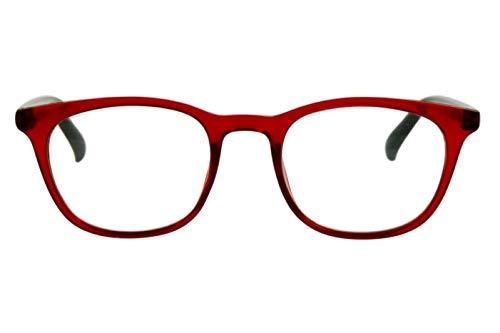 Designer Lesebrillen Damen Rot weinrot schwarz moderner transparenter Rahmen sehr leicht schöne große Gläser runde ovale Form schmale Bügel, Dioptrien:Dioptrien 2.5
