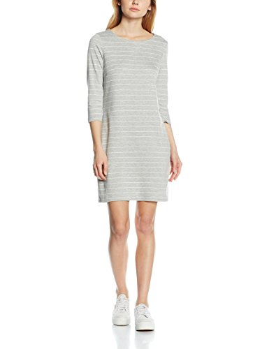 VILA CLOTHES Damen Kleid Vitinny New Dress-Noos, Grau (Light Grey Melange Stripes:Snow White), 38 (Herstellergröße: M)