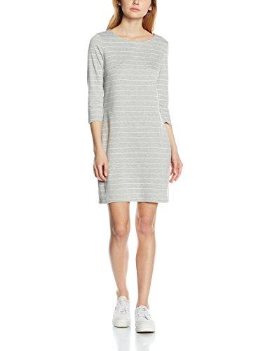 VILA CLOTHES Damen Kleid Vitinny New Dress-Noos, Grau (Light Grey Melange Stripes:Snow White), 40 (Herstellergröße: L) (Casual Stripe Kleid)