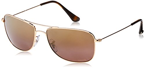 Ray-Ban RB3543 001/6B Gold glänzend RB3543 Square Aviator Sunglasses Polarised Lens Category 3 Lens Mirrored Size 59mm