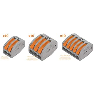 WAGO 222-412 x10, 222-413 x10, 222-415 x10 of Each Electrical Connectors Conductor Wire Clamp Terminal Block by Gas N Pow3r
