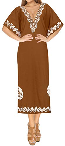 LA LEELA Damen Rayon überdimensional Maxi Bestickt Kimono Kaftan Tunika Kaftan Damen Top Freie Größe Loungewear Urlaub Nachtwäsche Strand jeden Tag Kleider Braun_R127 - Kaftan Tunika Top