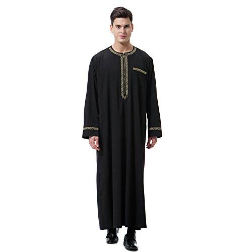 Arabische Kostüm Mann - Gyratedream Thobe Männer Thobe Mens Arabic Muslimische Kleidung Herren Thobe mit Langen Ärmeln Arabisch Muslim Wear Dubai Thobe Daffah Sultan Saudi Roben Nahen Osten Traditionelle Kostüm