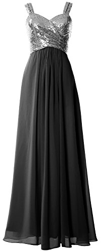 MACloth Women Straps Sequin Long Bridesmaid Dress Cowl Back Wedding Formal Gown Gray-Black