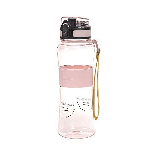 LÄSSIG Kinder Trinkflasche Tritan Auslaufsicher leicht BPA-frei/Drinking Bottle Adventure girls, rosa, 550 ml