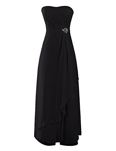 Dresstells, Robe de soirée de mariage/cérémonie/demoiselle d'honneur mousseline forme princesse sans bretelles avec emperler Noir