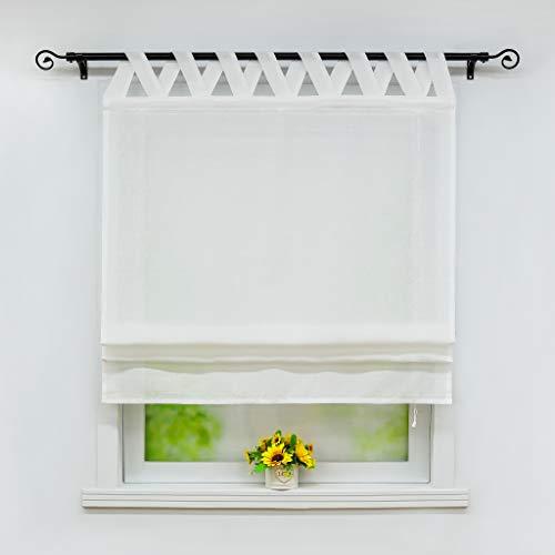 Joyswahl Raffrollo Halbtransparentes Unifarbiges Bändchenrollo »Mila« Schals mit Schlaufen Fenster Vorhänge BxH 100x140cm Weiß 1er Pack