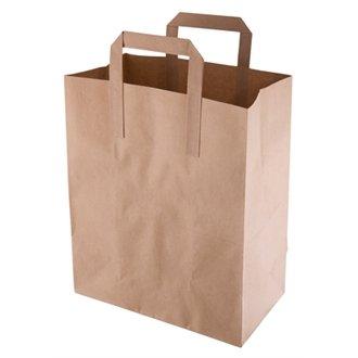 (Einweg-Papiertaschen aus recyceltem Papier, mittelgroß, Braun, 250 Stück, ideal für den professionellen Einsatz oder Partys)