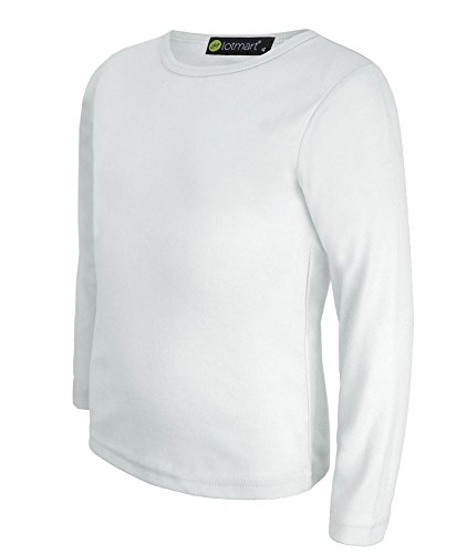 Weiße Jungen-t-shirt (lotmart Kinder Mädchen Jungen Uni Basic Top Lange Ärmel T-Shirt Tops Crew Uniform Tee und gratis Geschenk lotmart Werbe Pen mit jeder Paket,Weiß - 11-12 Years)