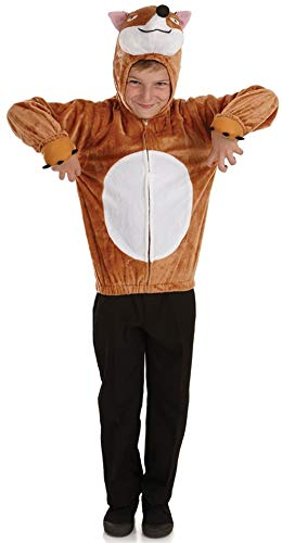 Fantastic 4 Mädchen Kostüm - Jungen Mädchen Fantastic Mr Fox Kapuzentop Tier Welttag des Buches Kostüm verkleiden Outfit - Braun, 4-6 Years