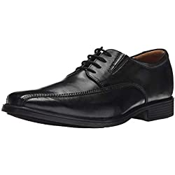 Clarks Tilden Walk, Zapatos de Cordones Derby para Hombre, Negro (Black Leather), 42 EU