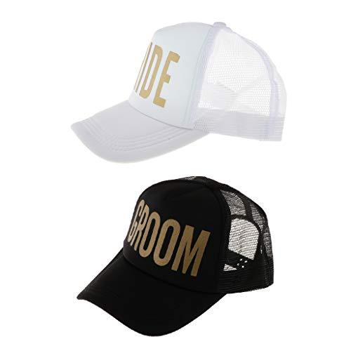 IPOTCH 2pcs Unisex Kappe Cap Mütze mit Bride und Groom Bedruckt Design für Brautparty und JGA Party Design Baseball-kappen