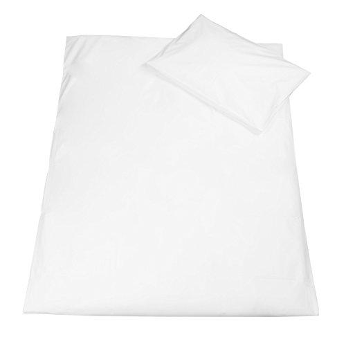Zollner Juego de funda de edredón y almohada para cuna 70x140 cm, blanca