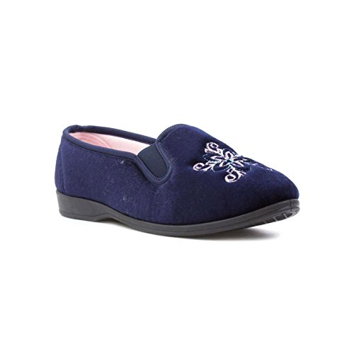 The Slipper Company - Womens Navy Traditional Full Slipper - Size 5...