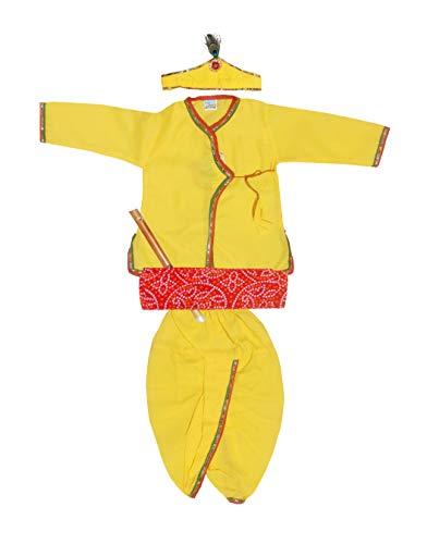 My NewBorn Krishna Dress Style Kurta & Dhoti Dress Set of 5 in Yellow (Size 28) (2-3 Years)