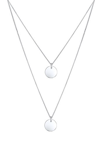 Elli Halskette 2-lagig Layer Kreis Geo 925, Silber,45 - Kreise Silber
