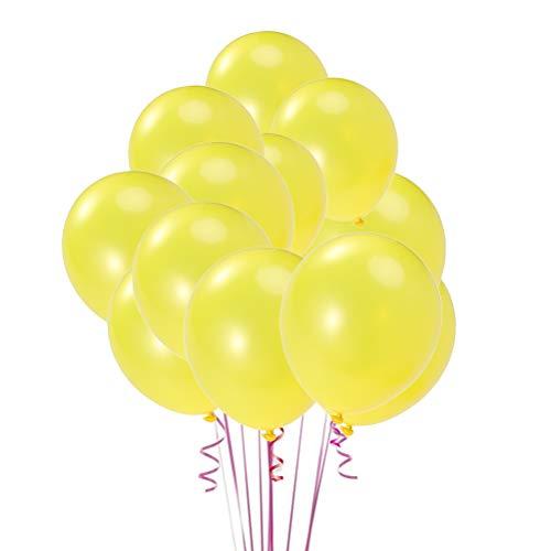 BESTOYARD 80pcs 10 Pulgadas Globos de látex Redondos nacarados Brillantes Globos Decoraciones para la Fiesta de cumpleaños de la Boda (Amarillo)