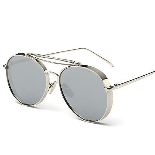 Sonnenbrillen. Retro Pilot Sonnenbrille Frauen Gespiegelt Steampunk Runder Kreis Schattierungen Vintage Outdoor Reisen Sommer Staub Uv400 Silber Silber