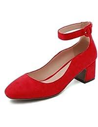 Correa de resorte hembra áspero y salvaje zapatos de raso fresca pequeña boca superficial solo zapatos, rojo,42