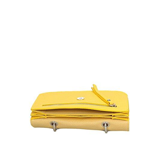 Chicca Borse Clutch Borsetta a Mano in Vera Pelle Made in italy - 23x17x7 Cm Giallo