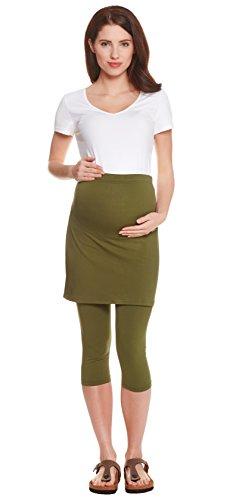 Be! Mama Umstandsleggings mit Rock, hochwertige Baumwolle, Modell PENTI - 3/4 oder lang, Umstandsrock Khaki - 3/4