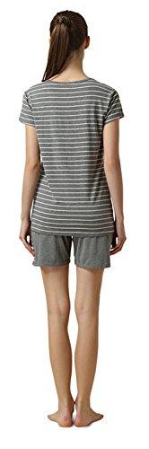 QianXiu Abbigliamento da notte per donna Camicia da notte a righe Indumenti da notte comodi Maniche corte Set da pigiama loungewear Pigiama Grey