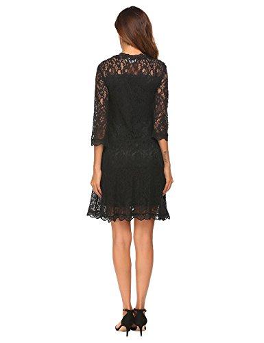 Imposes Damen Spitzenkleid Knielang Festlich Cocktailkleider Abendkleid mit 3/4 Arm Rundhalsausschnitt Schwarz