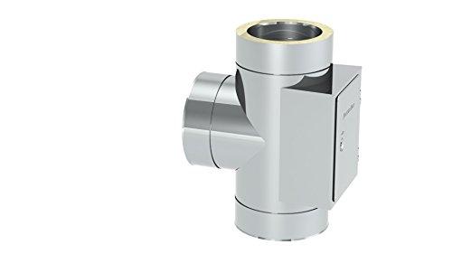 T-Anschluss 90° mit Reinigung gegenüberliegend (gleiche Höhe) für doppelwandige Schornsteine DW; Innen/Außen je 0,5 mm Wandstärke; Ø 150mm Innendurchmesser, Edelstahl