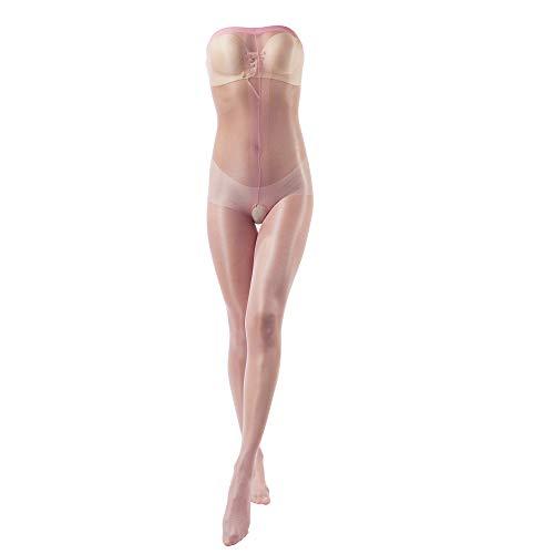 ElsaYX Damen Nylon Bodystocking, Ganzkörper Strumpfhose, ouvert, offener Schritt, Dessous