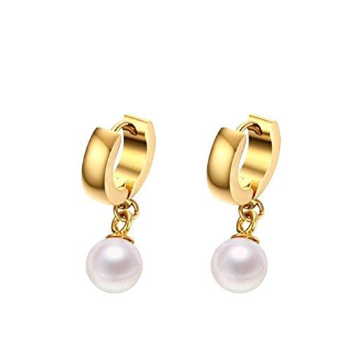 ZPL Moda titanio acciaio Orecchini pendenti di perle di temperamento - Perle Di Titanio