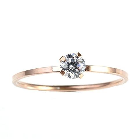 BeyDoDo Modeschmuck Edelstahlring Ring für Frauen Edelstahl Rund Zirkonia Rosegold Damenringe Ringgröße 52 (16.6)