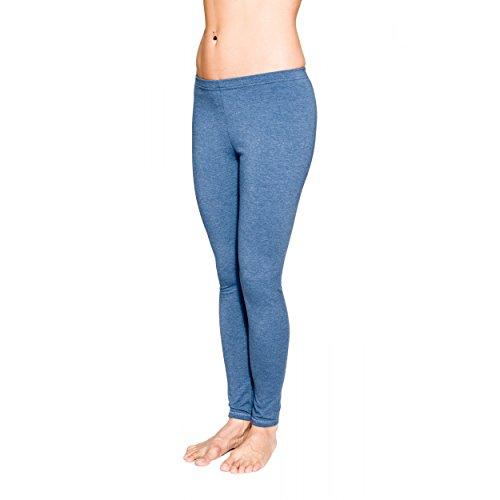 Alkato Damen Leggings Lang Blickdicht Baumwolle, Farbe: Jeans, Größe: 44 (Leggings Jean Blau)