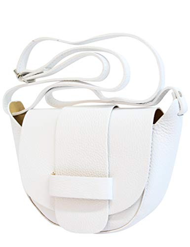 AmbraModa Kleine Ledertasche, Umhängetasche, Schultertasche, Discotasche (Weiß)