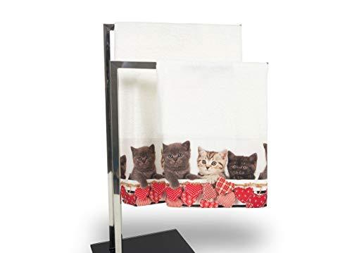 Set de serviettes et serviettes de bain en impression numérique ligne fresh American Shorthair Telo Bagno Micio