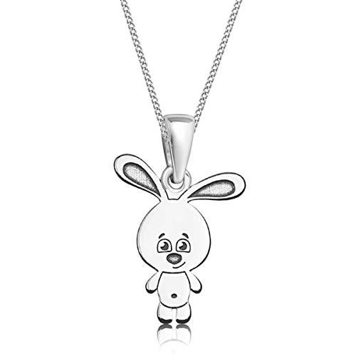 Gravur kleine Tiere Anhänger mit Halskette 925 Echt Silber Mädchen Kinder (4) Hase / 23x10mm, 38)
