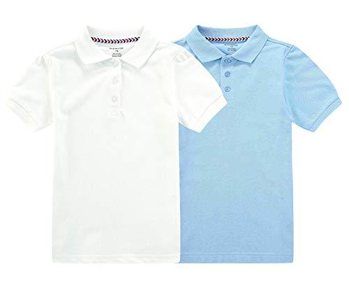 Bienzoe Jungen Antimikrobiell Kurzarm 2 Polo Pack Blau Weiß Größe 7/8 - Lila Baumwoll-piqué