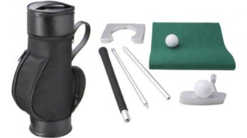 Unbekannt CEBEGO Büro Golf Set, Put Set in kleinem Golfbag mit ALU- Putter & 5 Golf-Tee Bleistifte, Puttingset Golfgeschenke