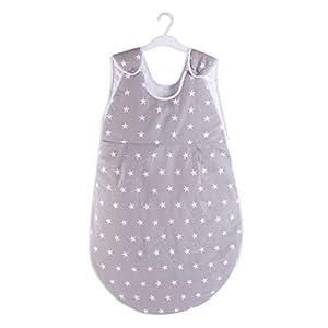 Saco de dormir para bebé mini saco de dormir de verano – Saco de dormir para bebé recién nacido durante todo el año 80 cm (70 cm de largo, grey with white stars)