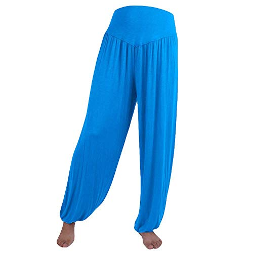 WOZOW Yoga Hosen Damen Baggy Solid Einfarbig Aladdin Indian Thiland Lang Long Bloomers Soft Loose Lose High Waist Casual Bequem Haremshose Pumphose Trousers Stoffhose Freizeithose (L,Himmelblau)