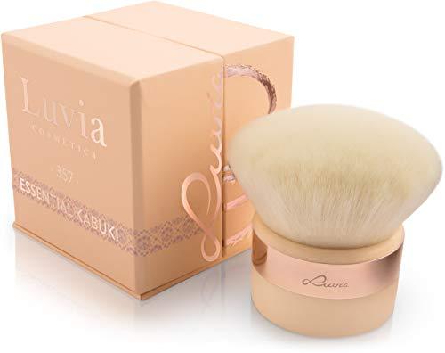 Kabuki Puder-Pinsel Gesichtspinsel Nude/Roségold – Großer Veganer Make-Up-Brush im luxuriösen Design zum Schminken mit Foundation, Mineal-Make-up, Puder, Blush und Body-Puder - Geschenke für Frauen