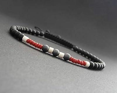 Bracelet fin homme, pierres naturelles, onyx noir mat, hématite mate, howlite et corail rouge