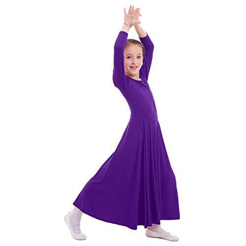 OBEEII Mädchen Tanzstrumpfhose Liturgisch Tanzkleid Lange Ärmel Jugendliche Elegant Worship Tanzkleidung Ballett Jazz Lateinischer Tanz Kirche Chor Beten Gebet Kostüm für Kinder Violett 11-12 - Göttin Kostüm Für Jugendliche