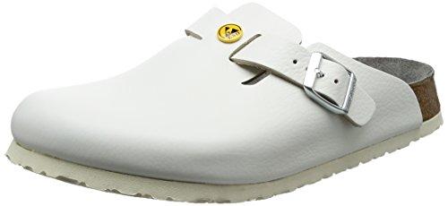 Birkenstock 61370-43-normales Schuh Boston Antistatik/Naturleder normales Fußbett, Weiß, Größe 43