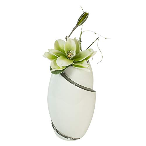 Formano Deko Vase mit Kunstblume Magnolie, Höhe 32 cm, weiß-Silber/grün-weiß, 2-Teiliges Set