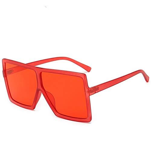 LAOGUAISHOU Weinlese-große Quadratische Sonnenbrille-Frauen-Schutzbrillen-Mens-übergroße Sonnenbrille-weibliche Mode-berühmte Marken-Schwarz-Brillen (Frame Color : Multi, Lenses Color : C19 red)