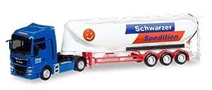 Herpa 308885 Man TGX XXL Euro 6c Bulk silo semitrailer Schwarzer Spedition, Color