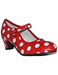 MADE IN SPAIN Zapato Baile sevillanas Flamenco Lunares Blancos Para Niña o Mujer Danka EN Rojo T1551 Talla 38