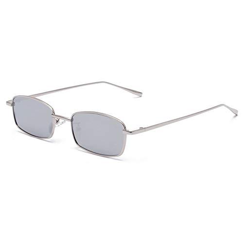 Sonnenbrille Kleine Schmale, Rechteckige Sonnenbrille Frauen Männer Rot Klare Linse Skinny Slim Kabel Retro Sonnenbrille Schattierungen Oculos Silber Grau